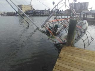 serious boat damage during hurricane irma