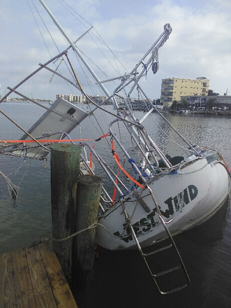 boat damaged by hurricane irma in florida